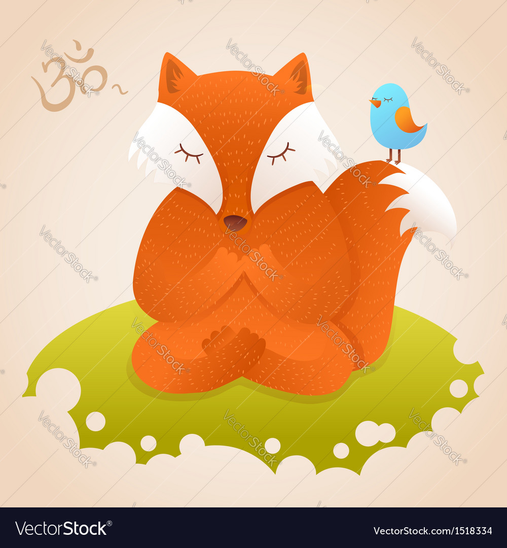 Cute fox sitting in yoga lotus pose and relaxing
