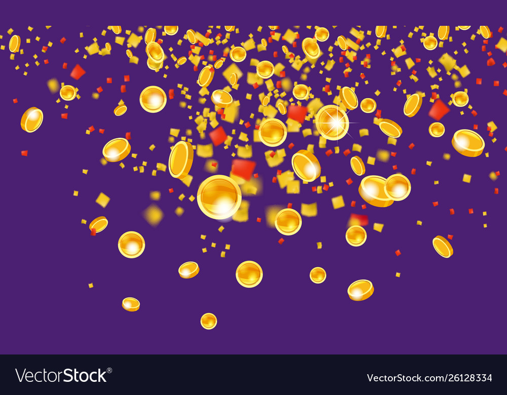 Falling flying gold coins with tinsel money from