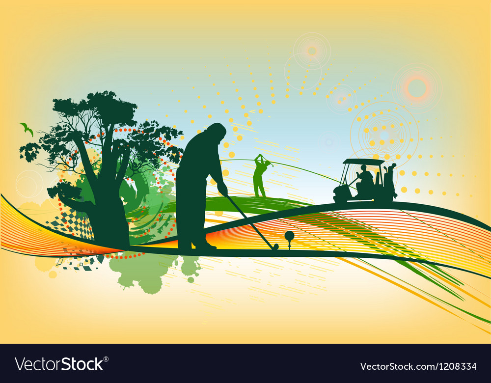 Golf Silhouettes in colorful background vector image
