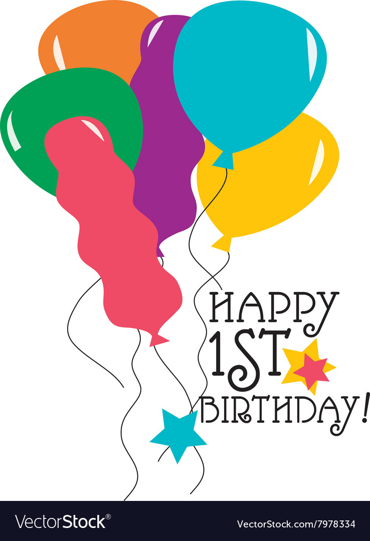Happy 1st Birthday Vector Image
