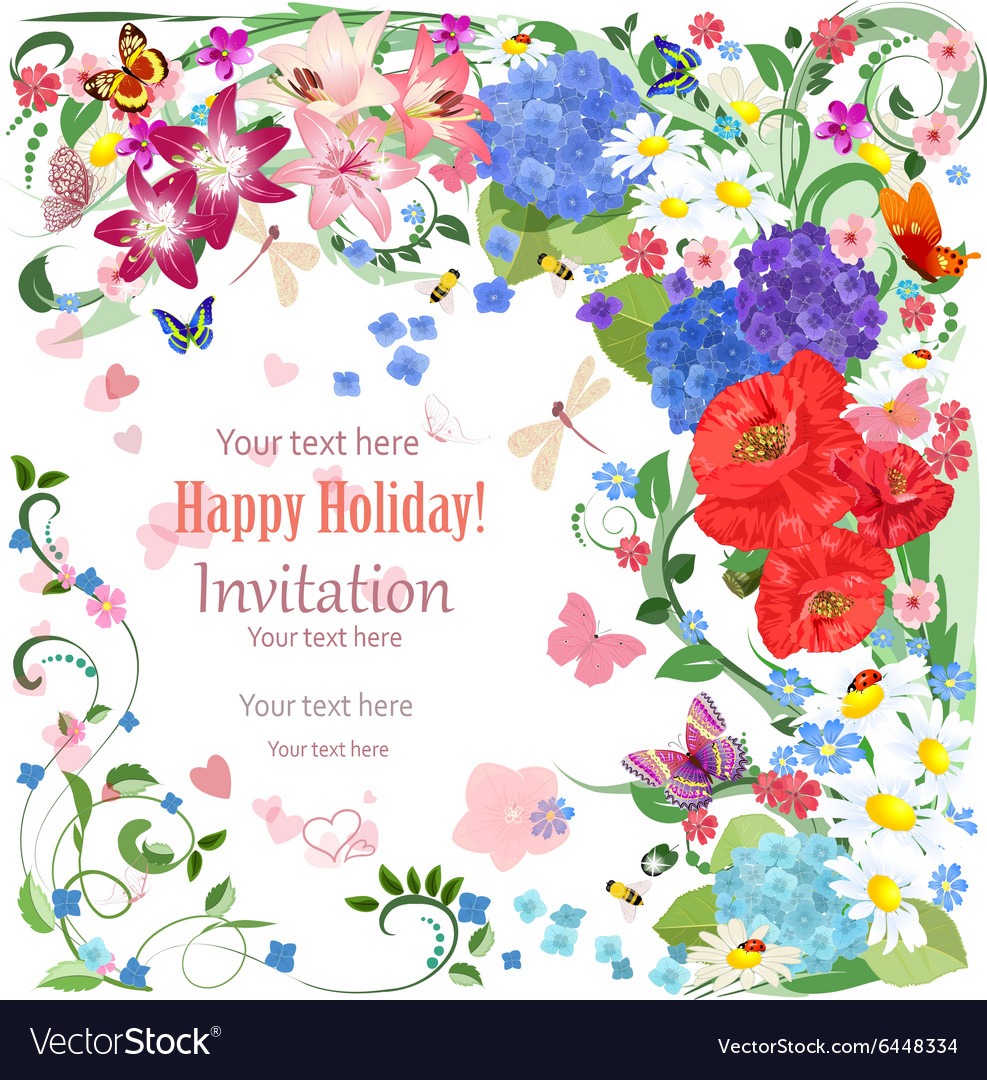 Lovely invitation card with beautiful flowers and