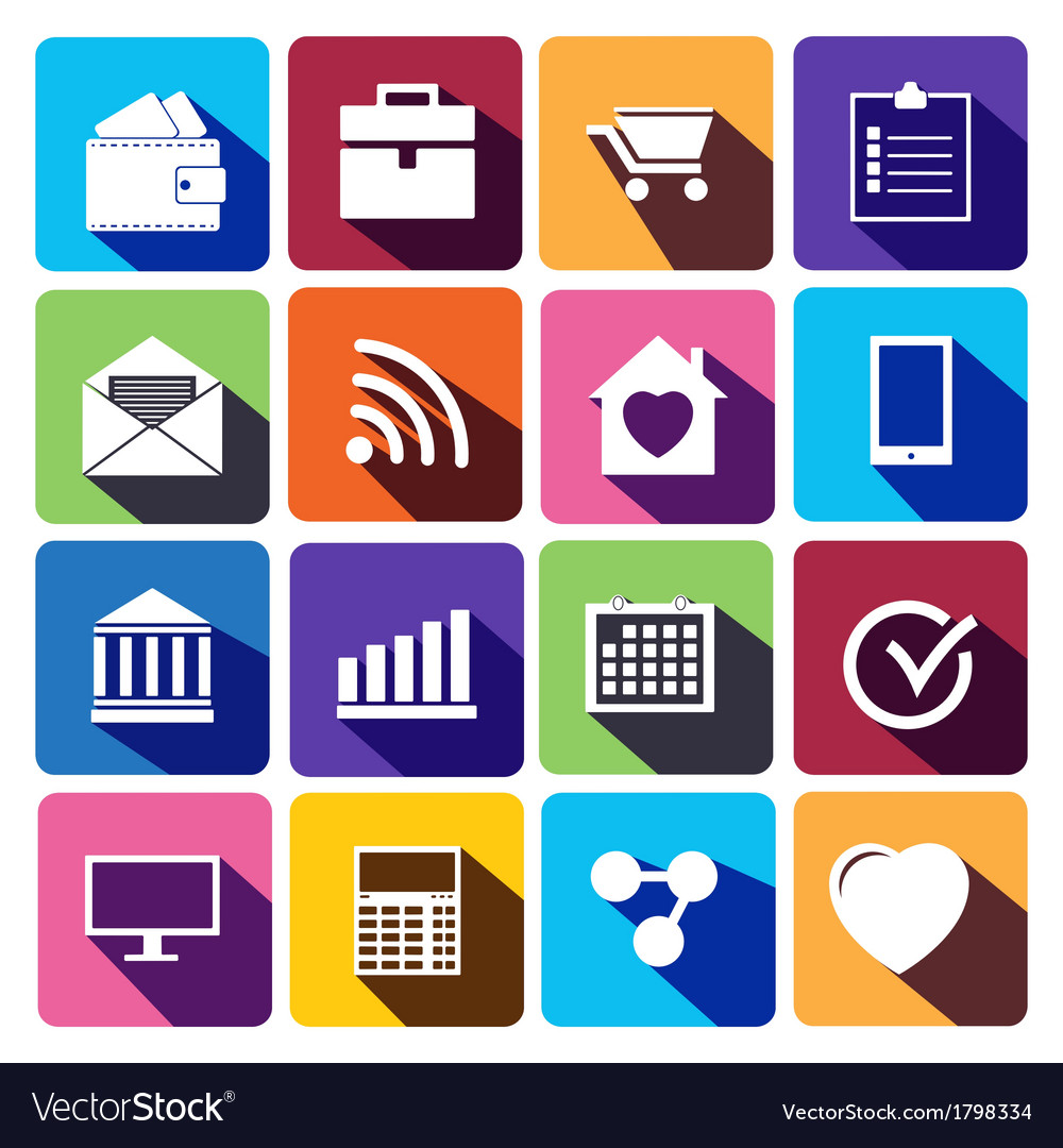 Office and business Flat icons for Web vector image