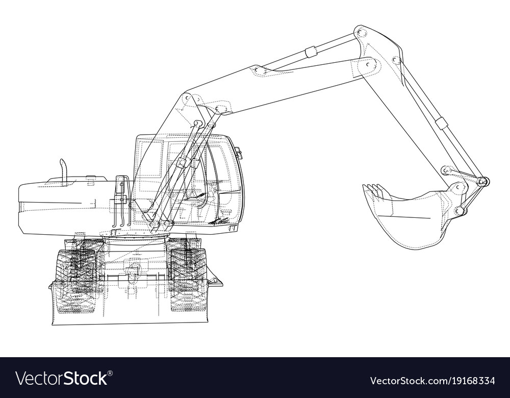 Outline Of Excavator Isolated On White Background Vector Image