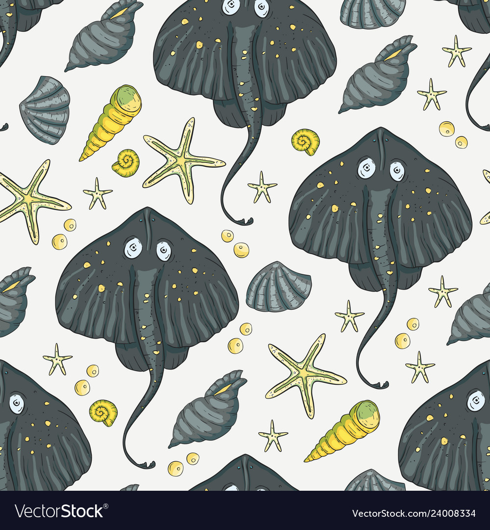 Sea seamless stingray pattern
