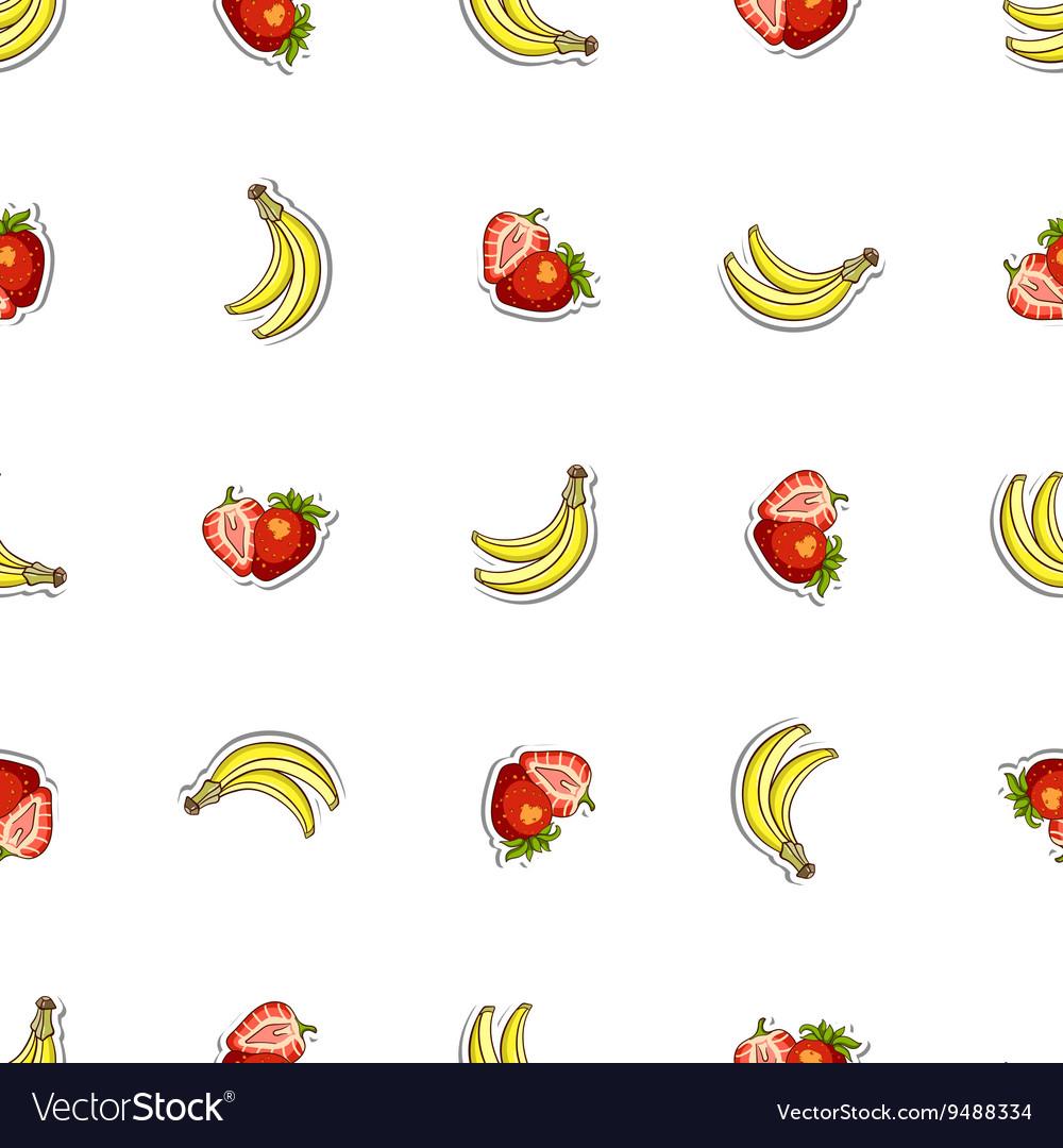Seamless Pattern Strawberry Banana vector image