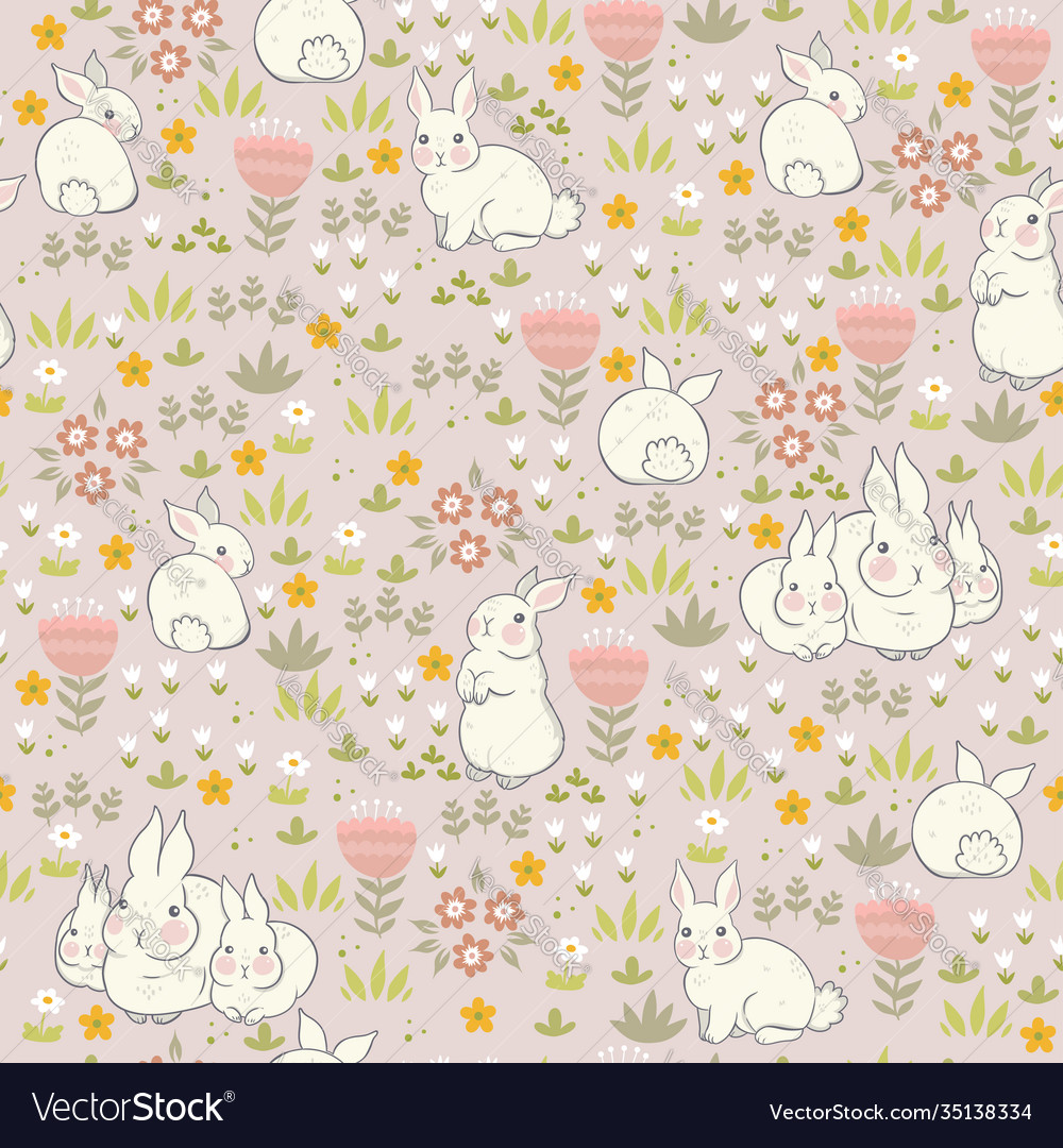 Spring bunnies seamless pattern with flowers