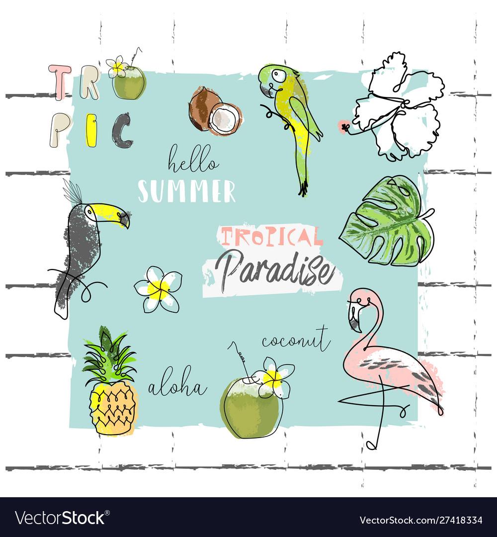 Summer cartoon doodle hand drawn tropical