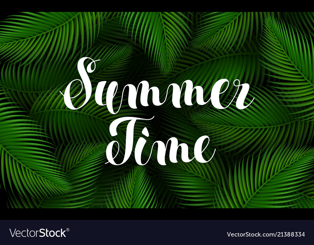 Summer time lettering poster text handwriting on