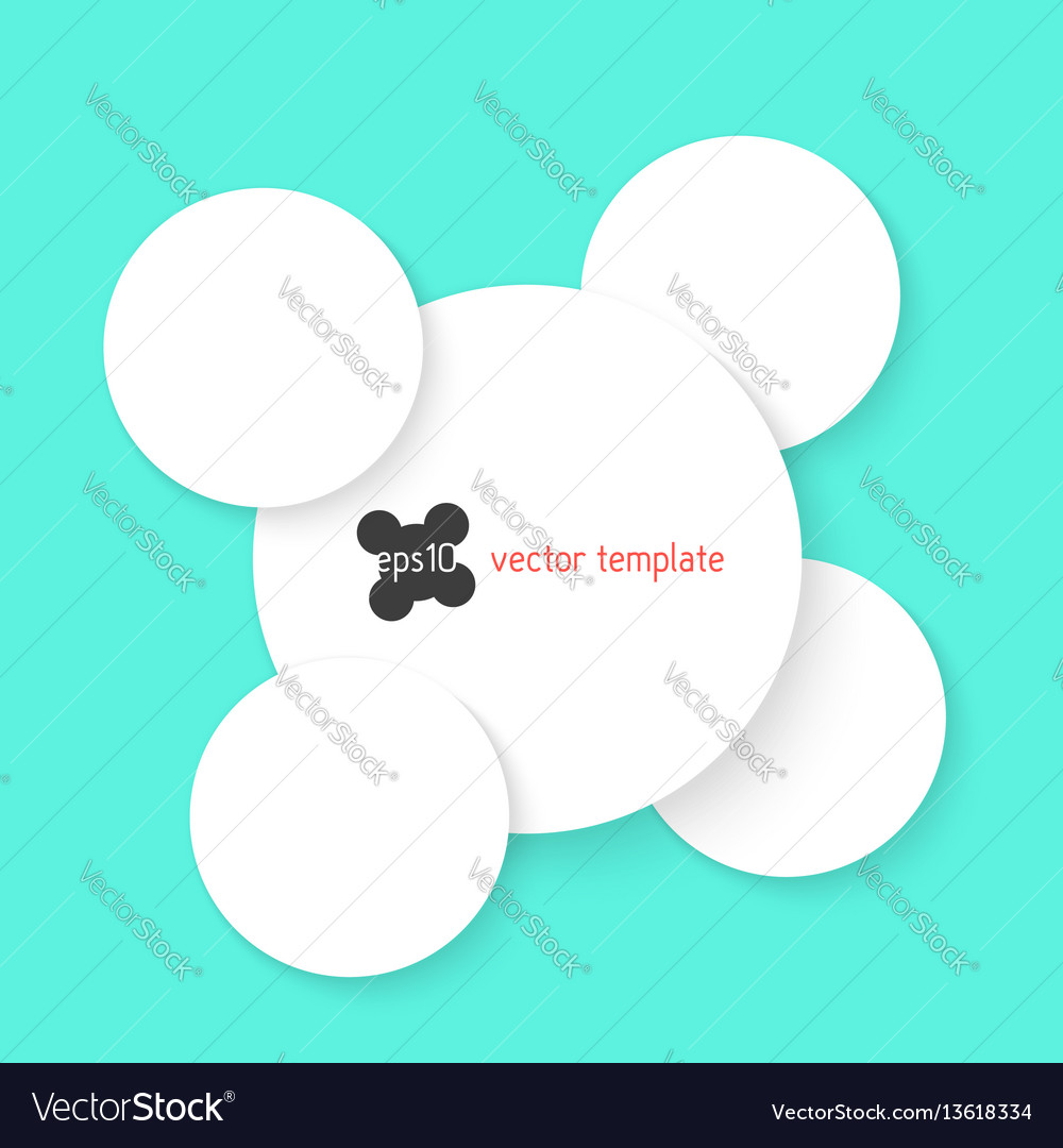 White circles with shadow isolated on green vector image