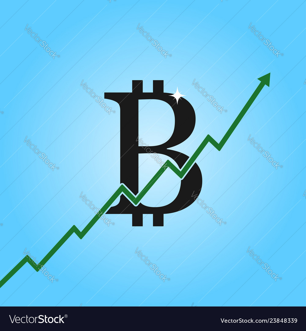 Bitcoin growth graph bitcoin sign with arrow up