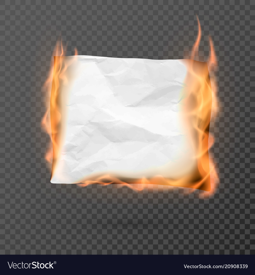 Burning piece of crumpled paper with copy space