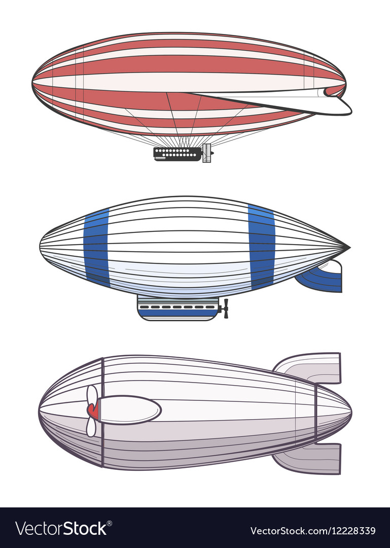 Colorful airships zeppelins