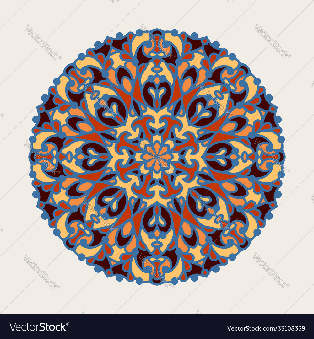 Colorful round floral pattern