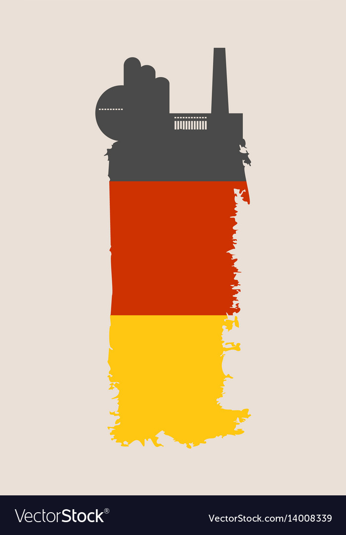 Factory icon and grunge brush germany flag