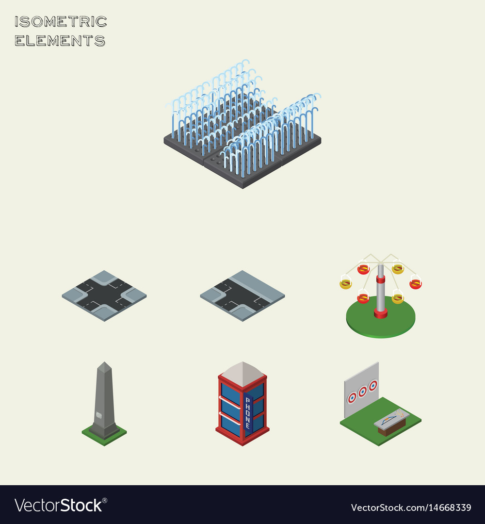 Isometric city set of dc memorial aiming game vector image