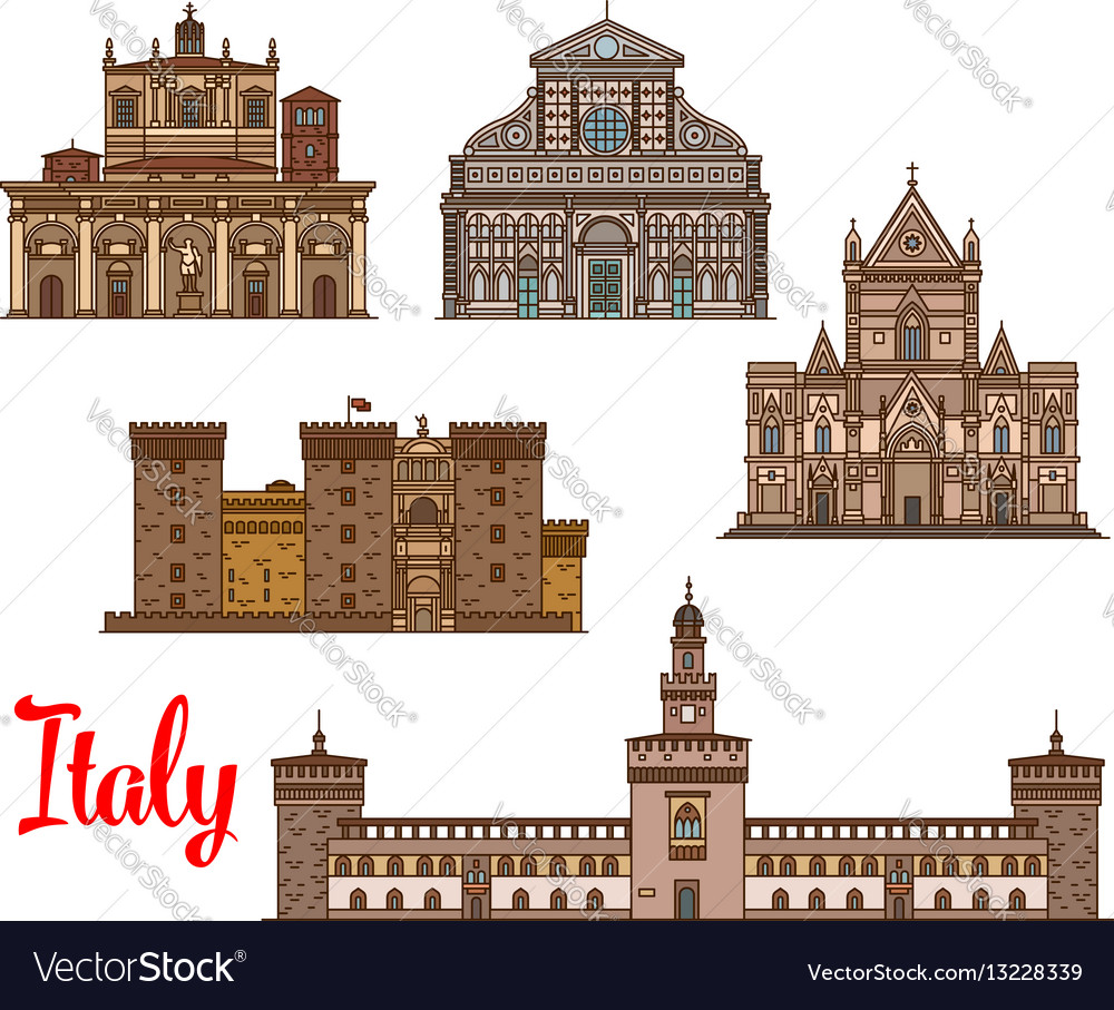 Italian architecture travel landmarks icon set