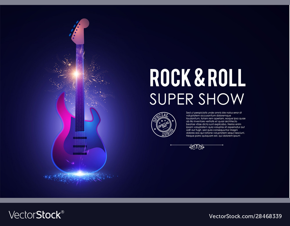 Music poster with electirc quitar shining rock