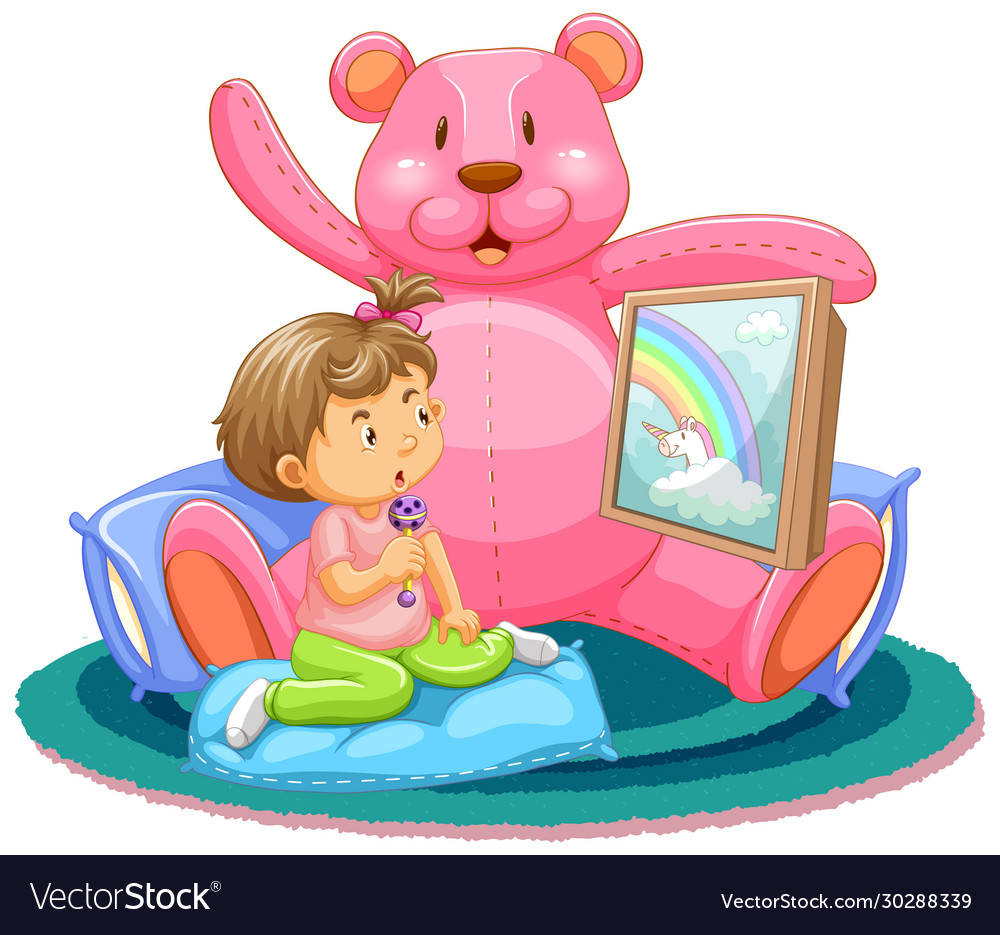 Scene with kids watching tv with teddy bear