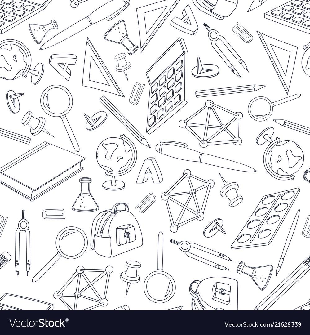 School doodle seamless pattern set of office