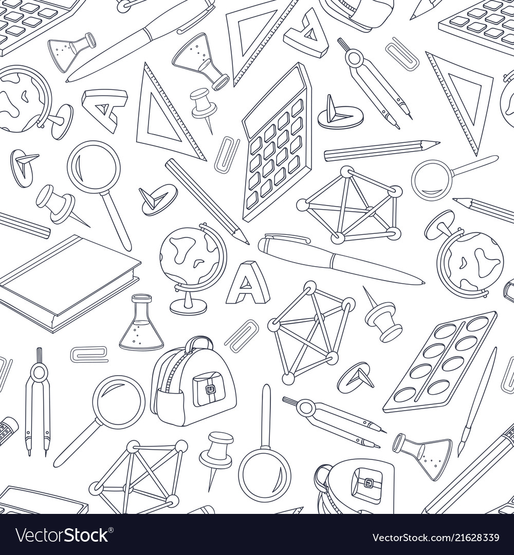 School doodle seamless pattern set office vector