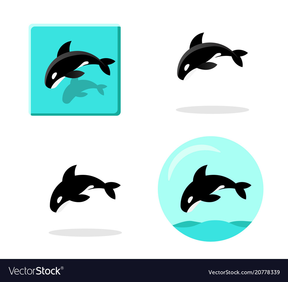 Set killer whale icons in flat style art
