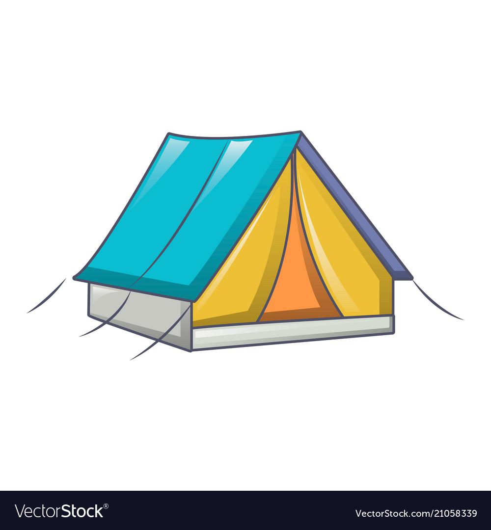 Tent camp icon cartoon style