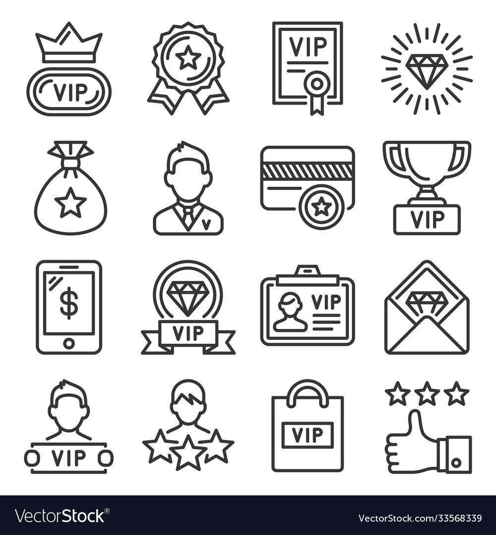Vip icons set on white background line style
