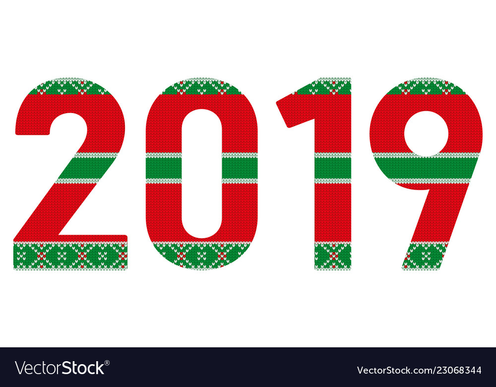 2019 knitteg greeting card for the new year and