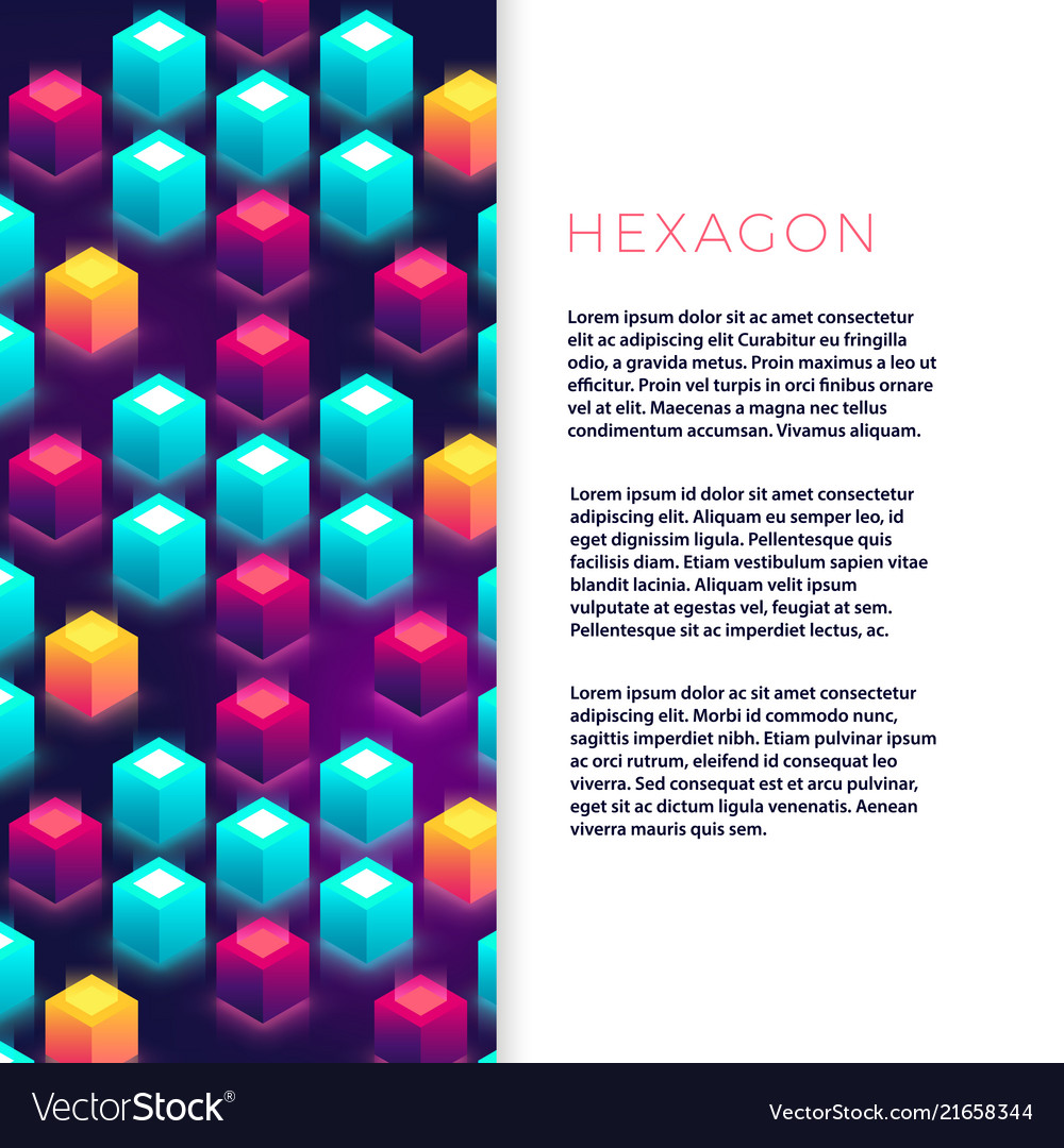 Abstract flyer template with colorful hexagon