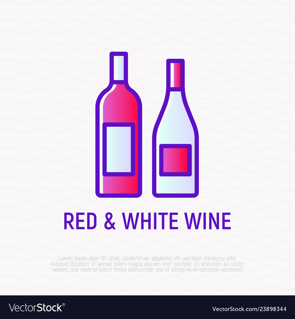 Bottles with red and white wine thin line icon
