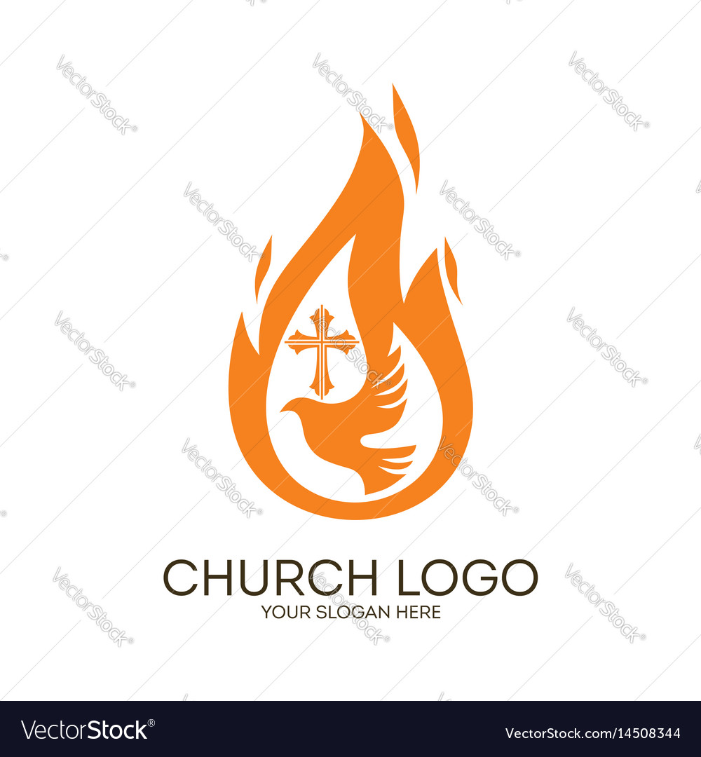 Dove the flame and the cross vector image