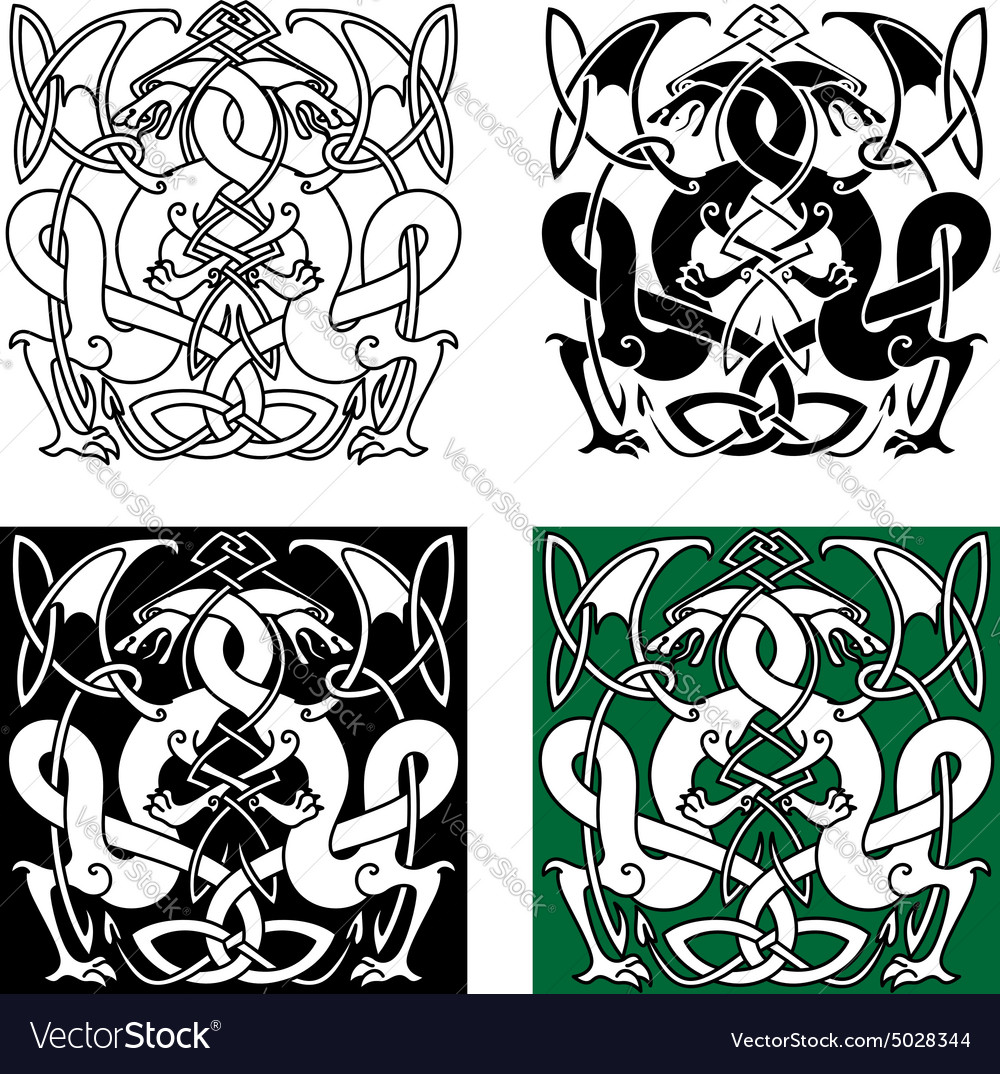 Dragons entwined in traditional celtic ornaments vector image