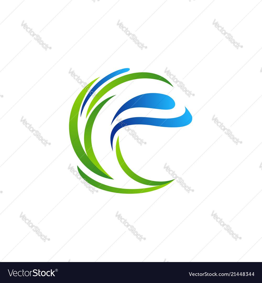 Letter e plant water drop ecology logo symbol icon