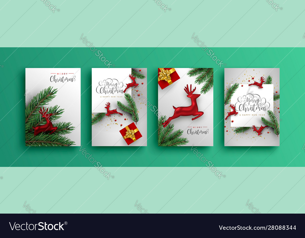 Merry christmas new year red 3d reindeer card set