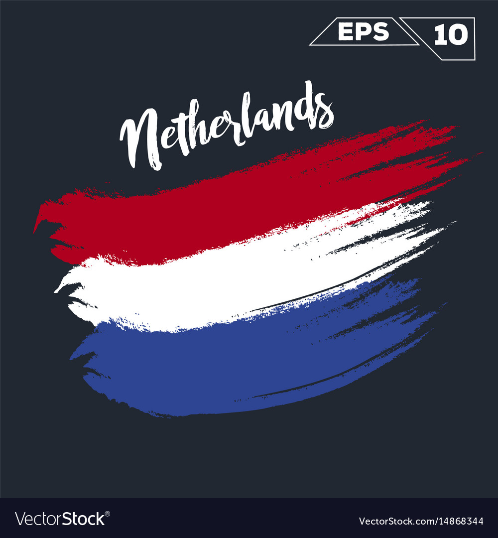 Netherlands flag brush strokes painted vector image