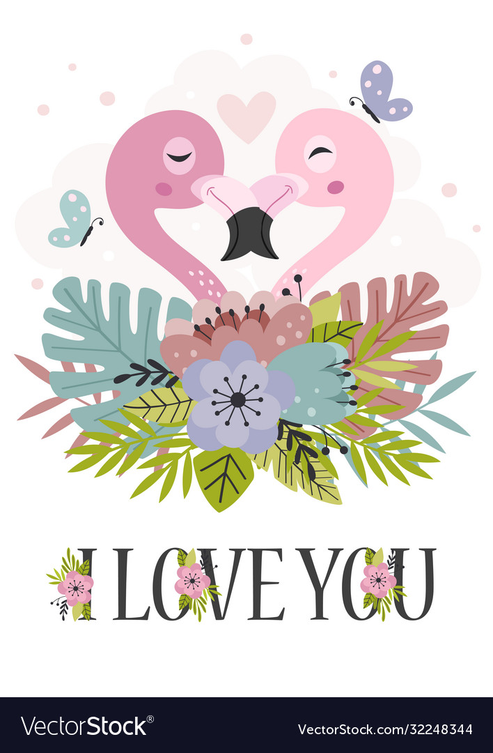 Poster with couple pink flamingos in flowers
