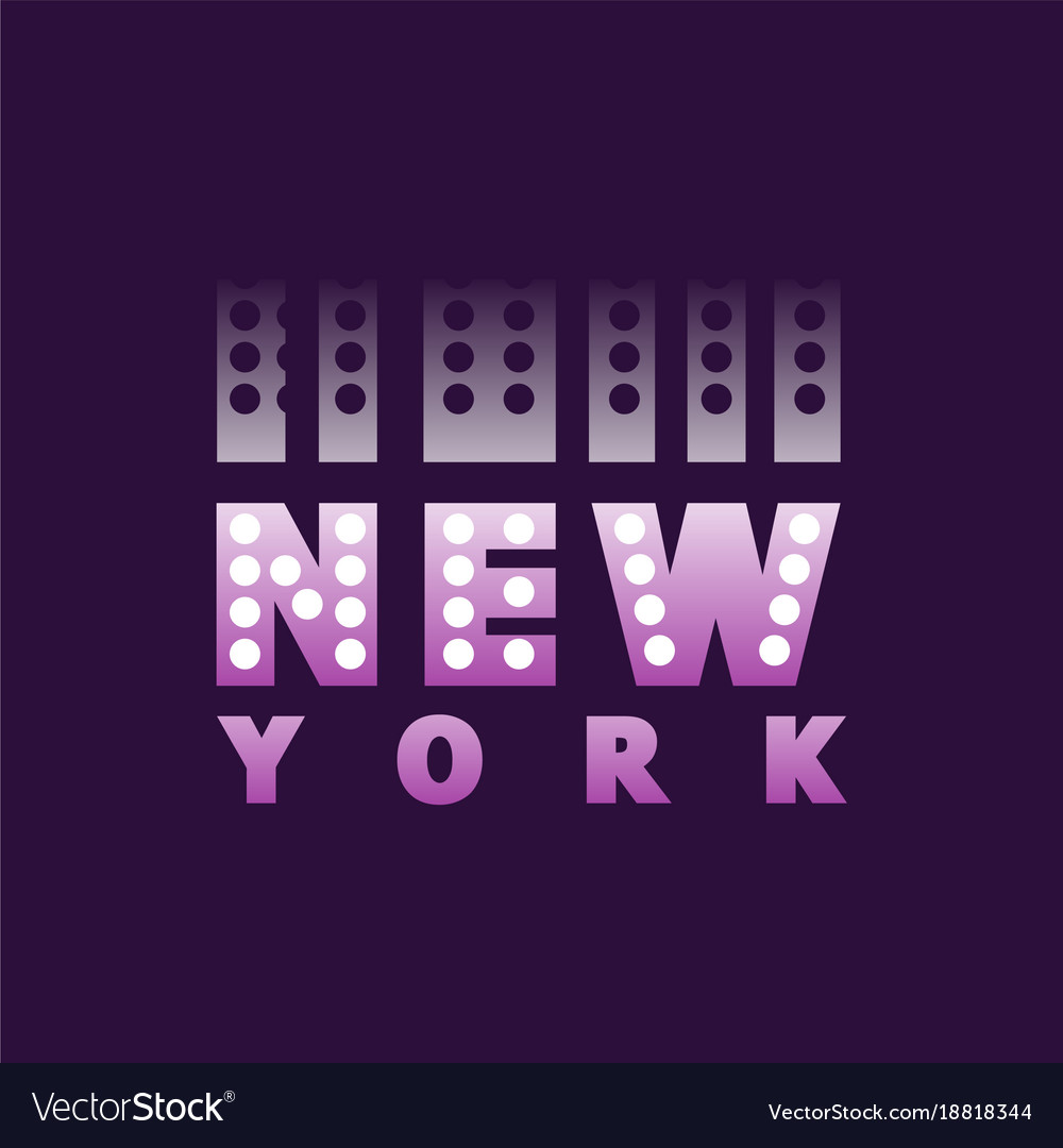 Retro new york logo text word american city