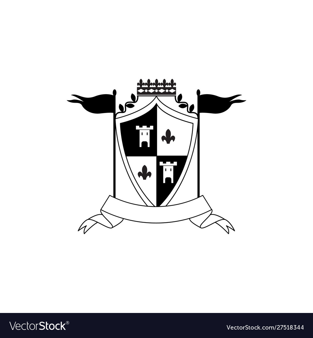 Royal coat arms template with checkered shield
