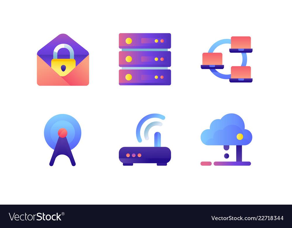 Set icons with database wi-fi modem web mail