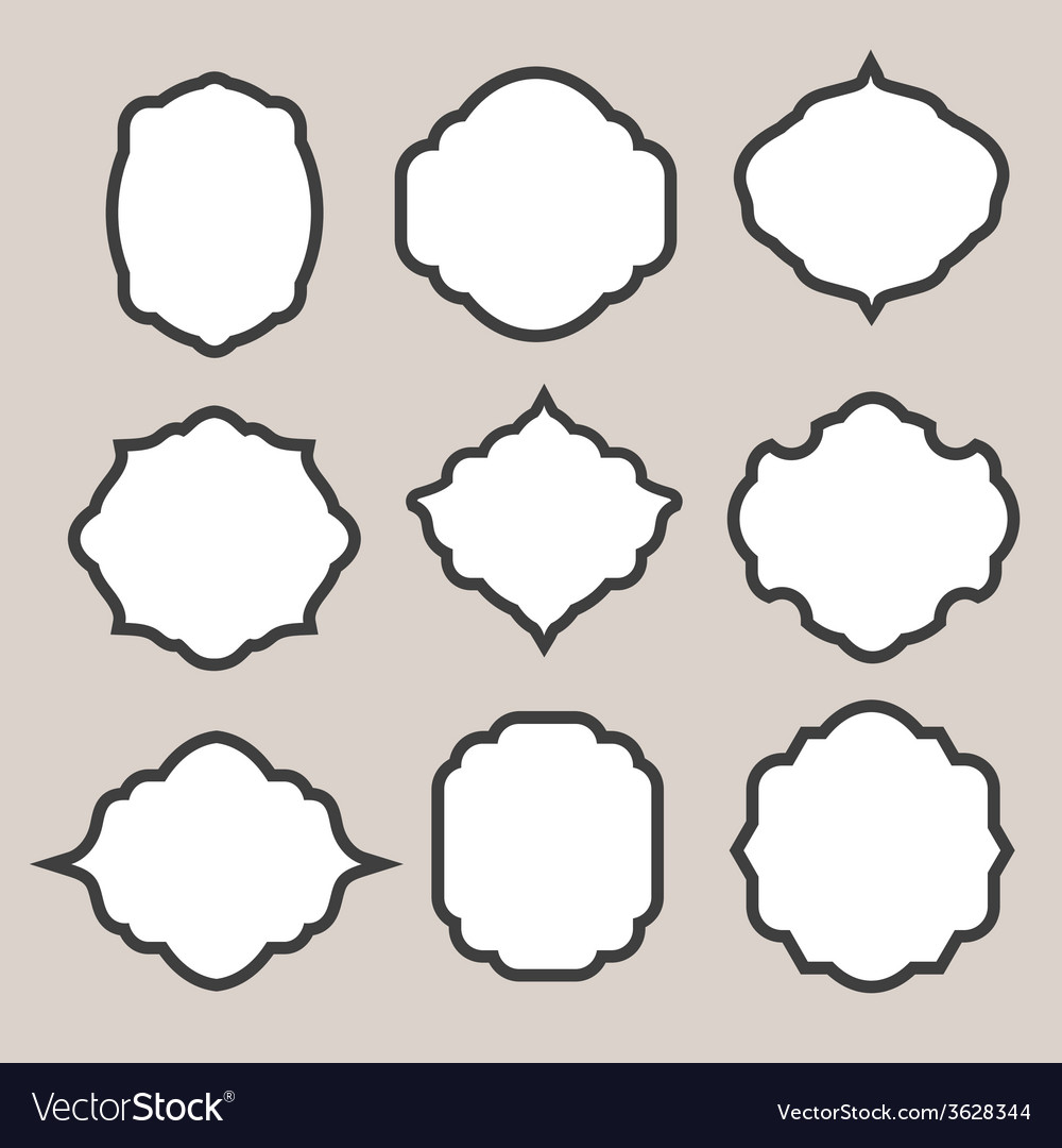 1287f47f384 Set of silhouette frames or cartouches for badges