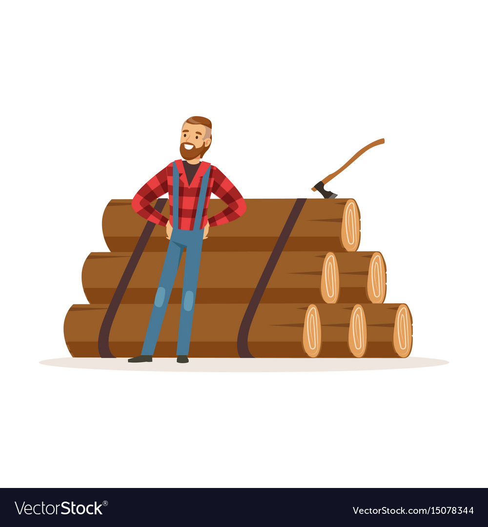 Smiling lumberjack man standing against pile of
