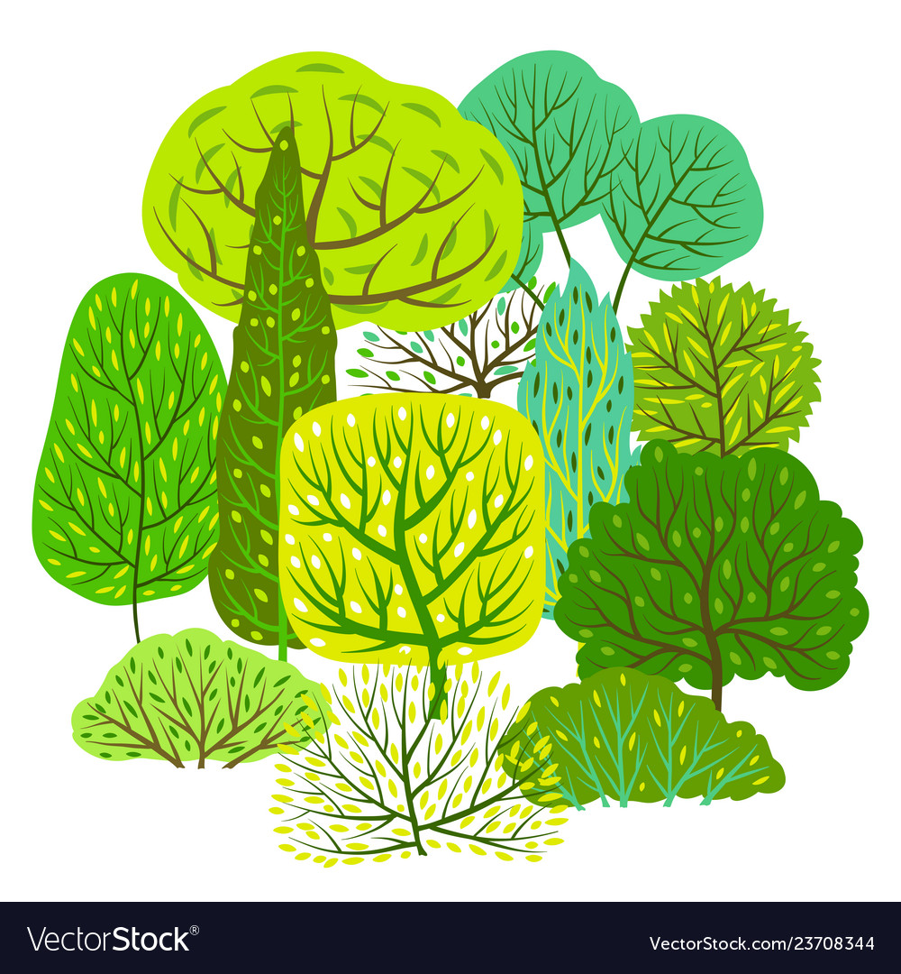 Spring or summer background with stylized trees