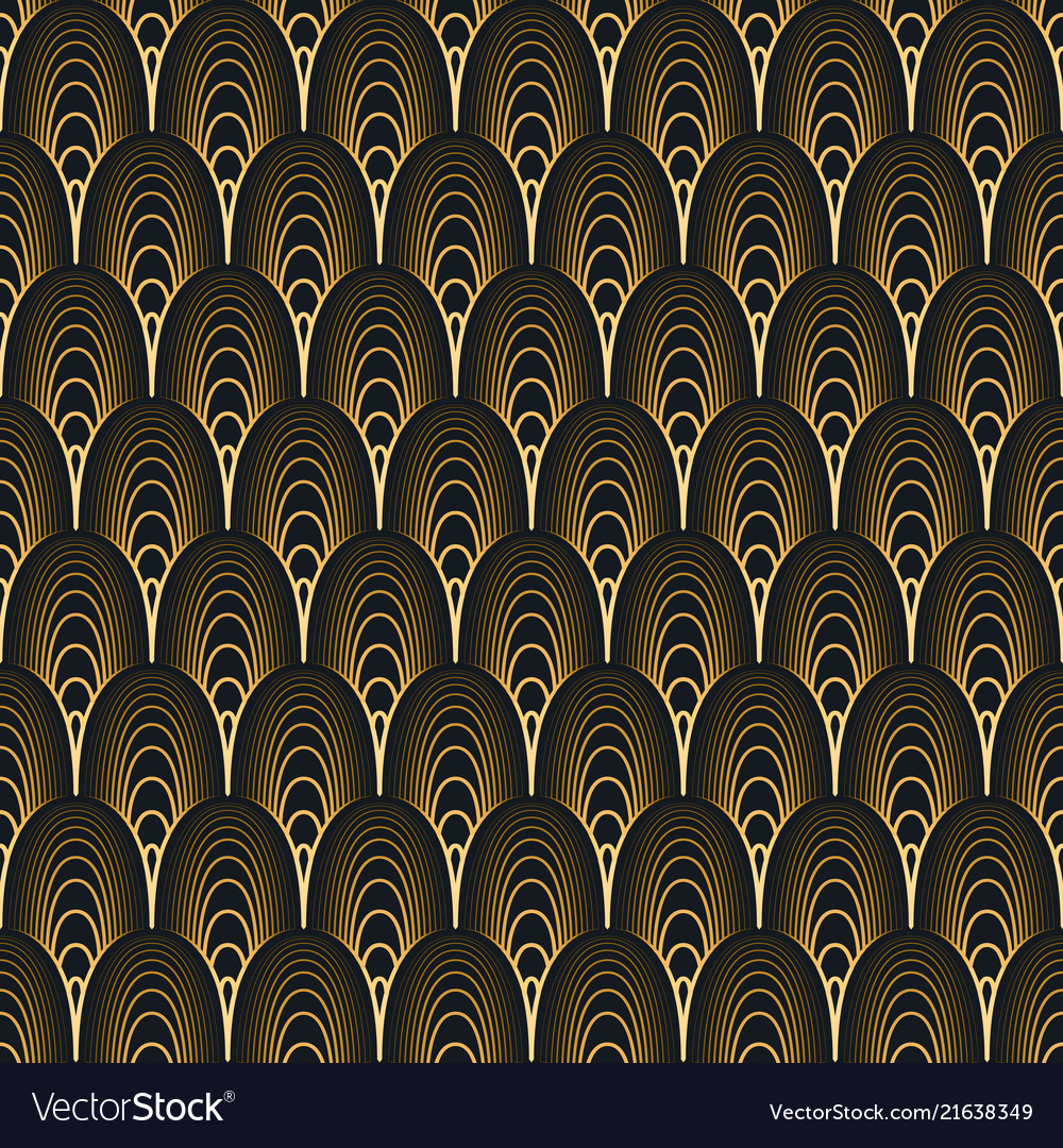 Art deco seamless pattern gold on black