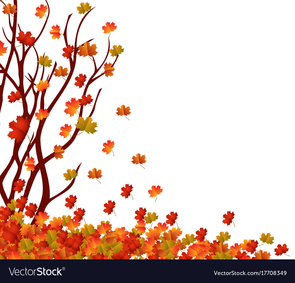 Autumn Tree And Pile Of Leaves Fall Leaves Vector Image