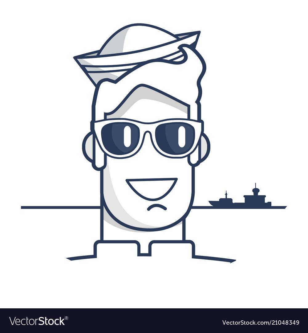 Cheerful sailor in sunglasses outline portrait