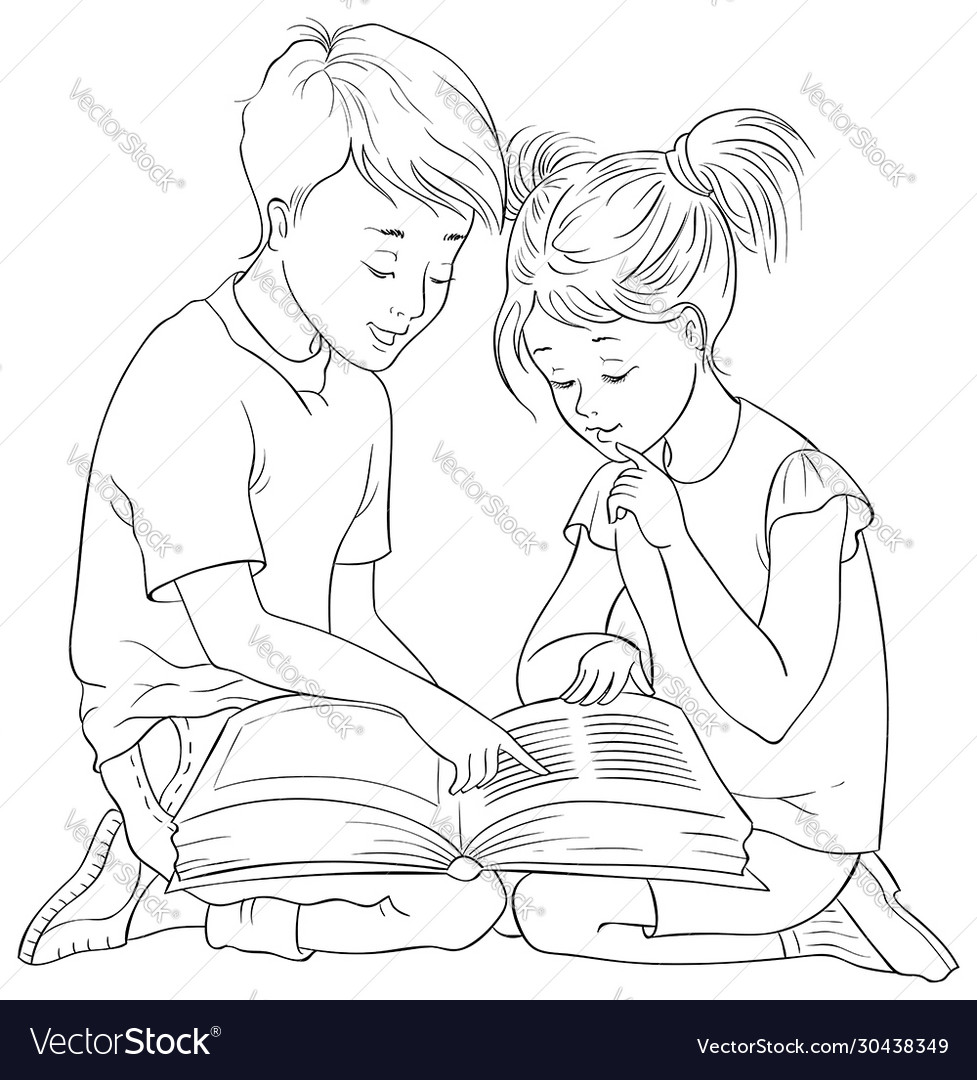 Children read book coloring page
