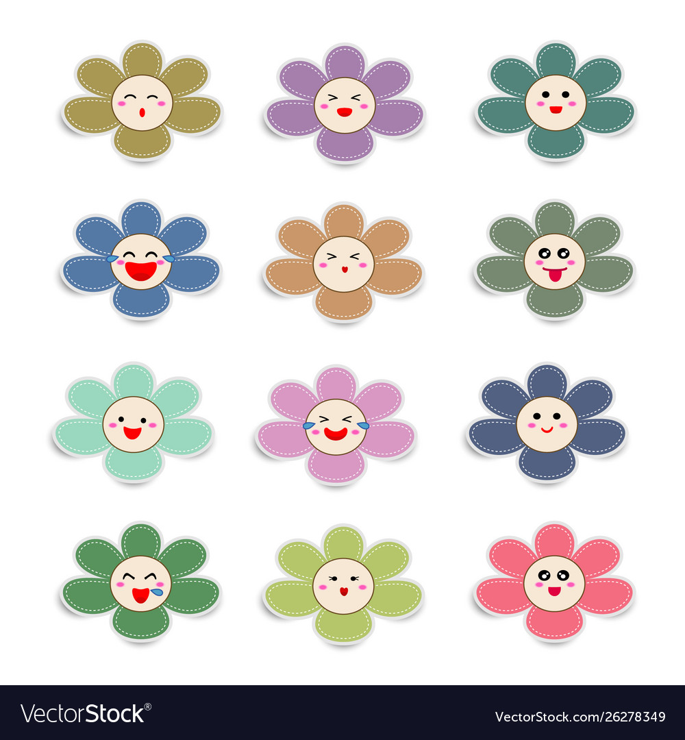 Cute paper flowers with smiley face