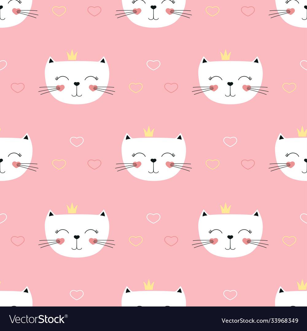 Cute princess cats seamless pattern