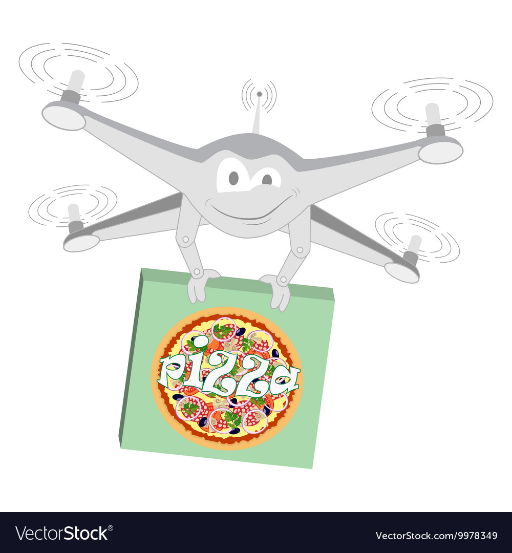 Funny drone Pizza Isolated vector image