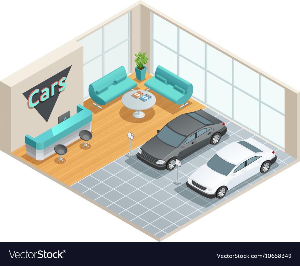 Hall Interior Isometric Design vector image